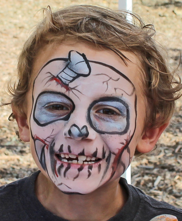 Stacey Kurtz Art For Mural In Boys: Skull Boyface Painting By Auntie Stacey's Face Painting