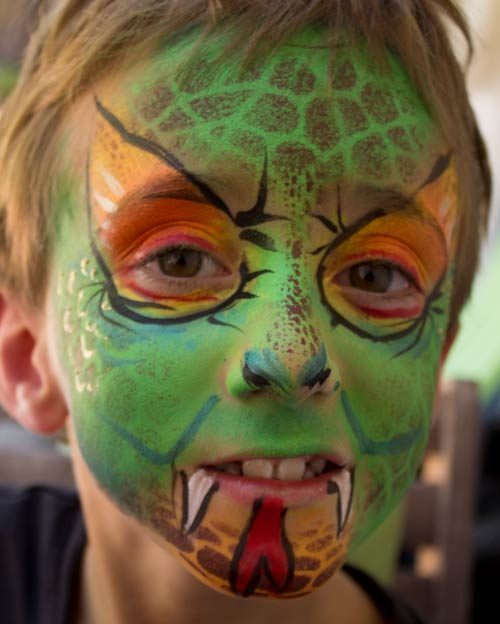 Snake face paint by Auntie Stacey