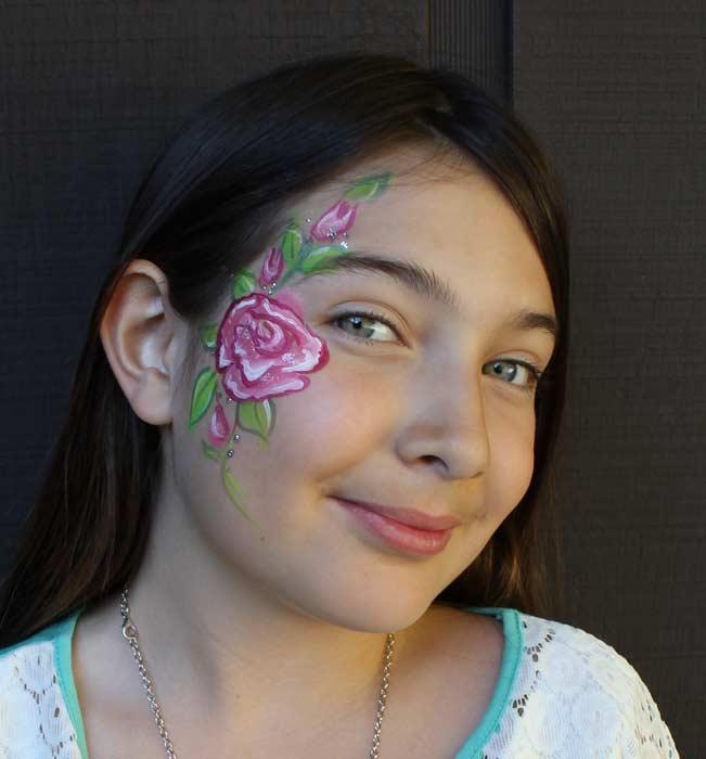 Rose face paint by Auntie Stacey, Sebastopol face painter