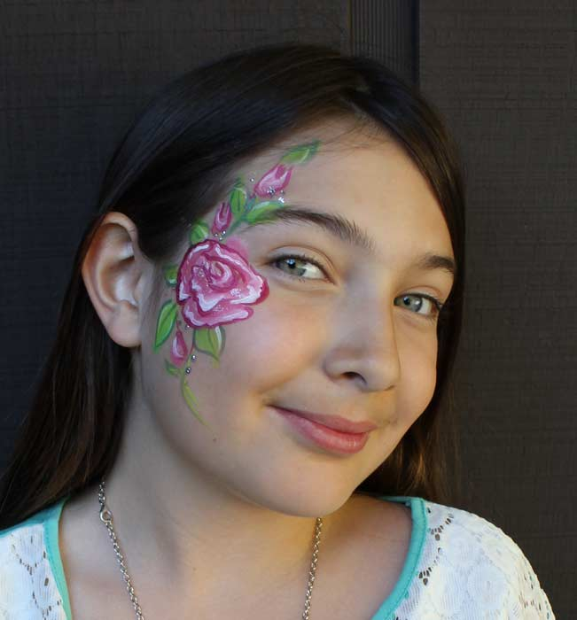 Rose face paint by Auntie Stacey, Sebastopol face painter