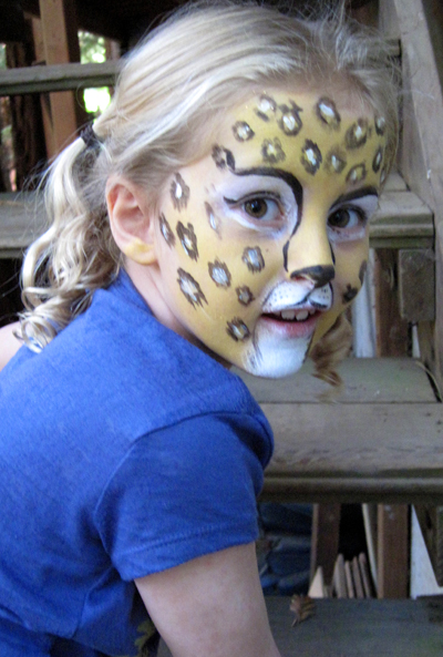 leopard face painting by Auntie Stacey