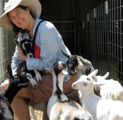 Auntie Stacey bonds with the goats