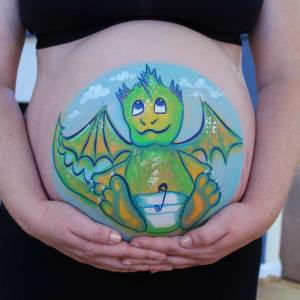 Baby dragon belly paint by Auntie Stacey