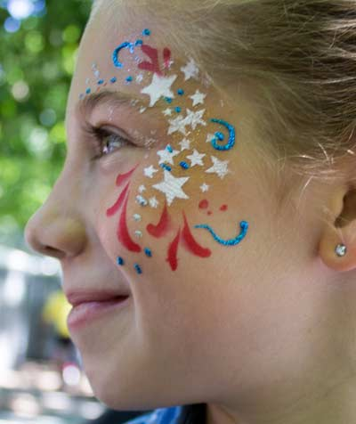 4th of July Eye Bling by Auntie Stacey's Face Painting