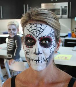 Sugar Skull Face painting by Auntie Stacey, www.auntiestaceysfacepainting.com