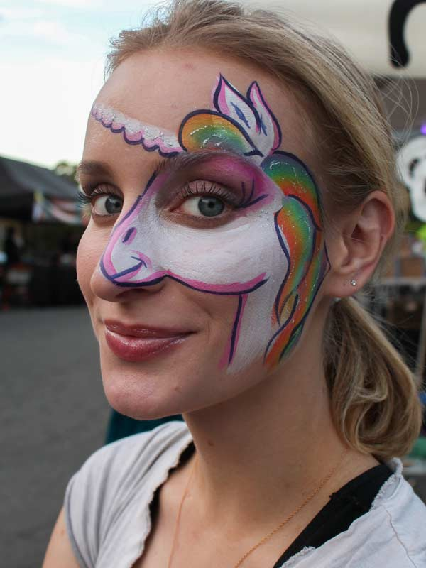 Unicorn face paint by Auntie Stacey's Face Painting, Sonoma county, Santa Rosa, Sebastopol, Petaluma, wine country face painter, SF bay area face painter