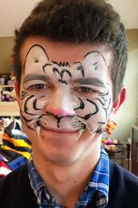 White Tiger face paint by Auntie Stacey's Face Painting, Sonoma county, Santa Rosa, Sebastopol, Petaluma, wine country face painter, SF bay area face painter, Wine Country face painter