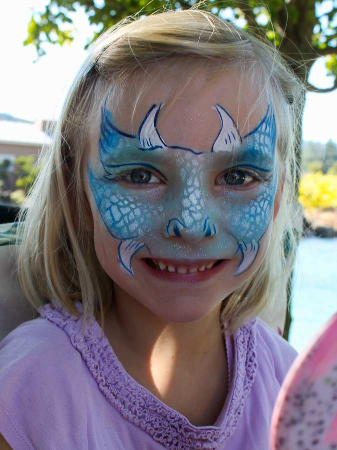 Dragon face paint by Auntie Stacey, www.auntiestaceysfacepainting.com