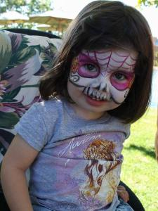 sugar skull face paint by Auntie Stacey, www.auntiestaceysfacepainting.com