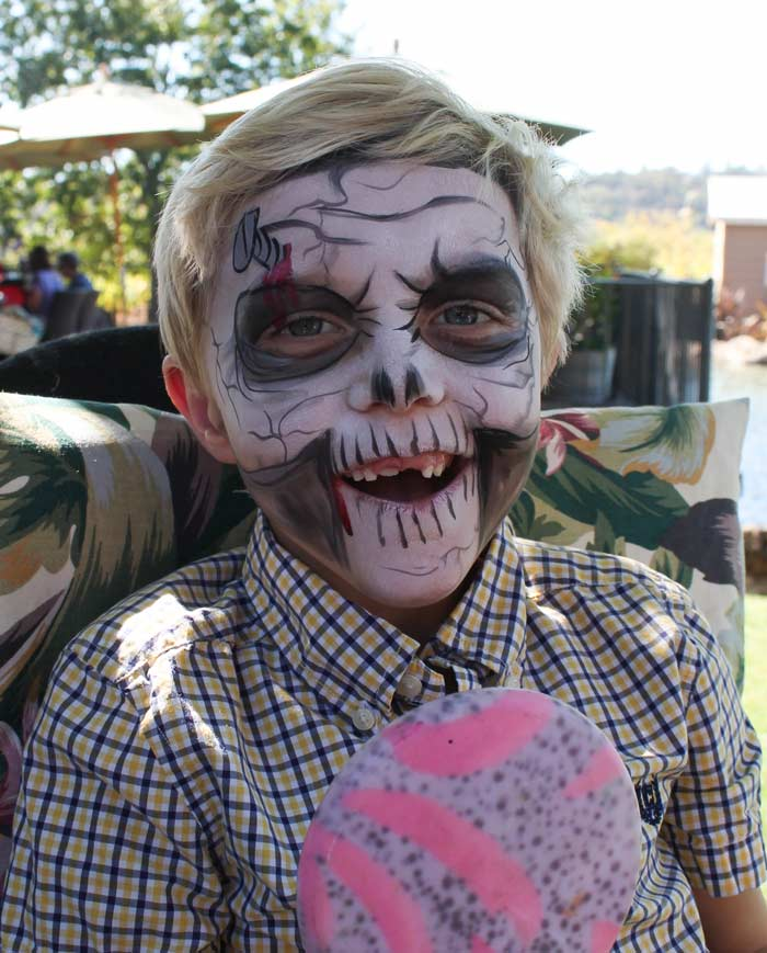Screw Skull face paint by Auntie Stacey, www.auntiestaceysfacepainting.com