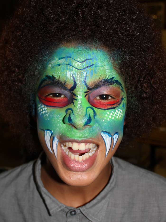 Monster face paint by Auntie Stacey, www.auntiestaceysfacepainting.com