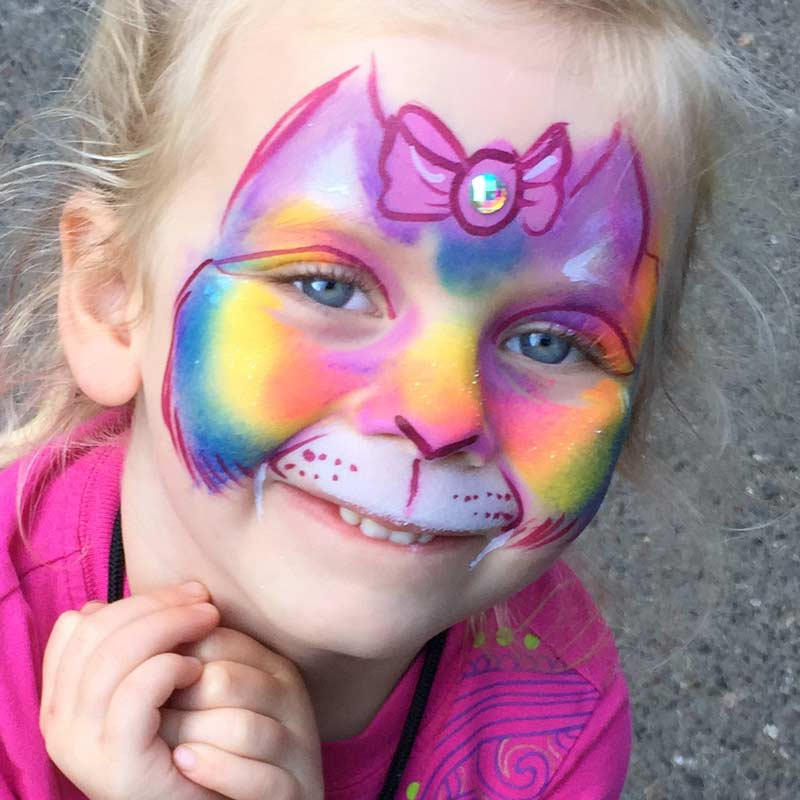Rainbow kitty cat painted by Auntie Stacey's Face Painting