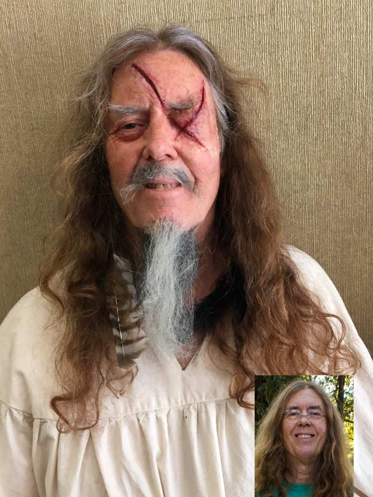 Odin the Norse God make up by Auntie Stacey Dennick with two part silicone prosthetic appliances