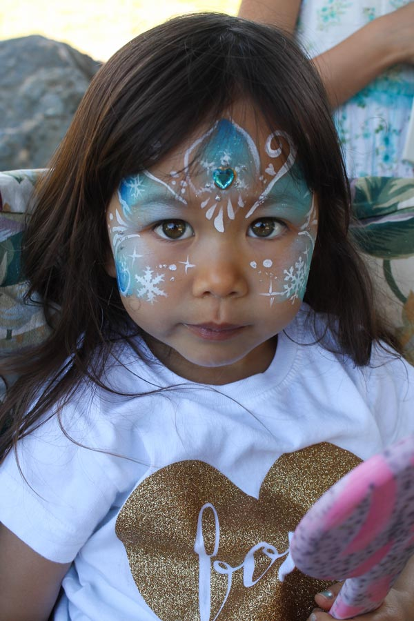 Frozen Princess face paint by Auntie Stacey, Auntie Stacey's Face Painting, Sebastopol, CA