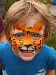 Tiger face paint by Auntie Stacey, Auntie Stacey's Face Painting, Sebastopol, CA