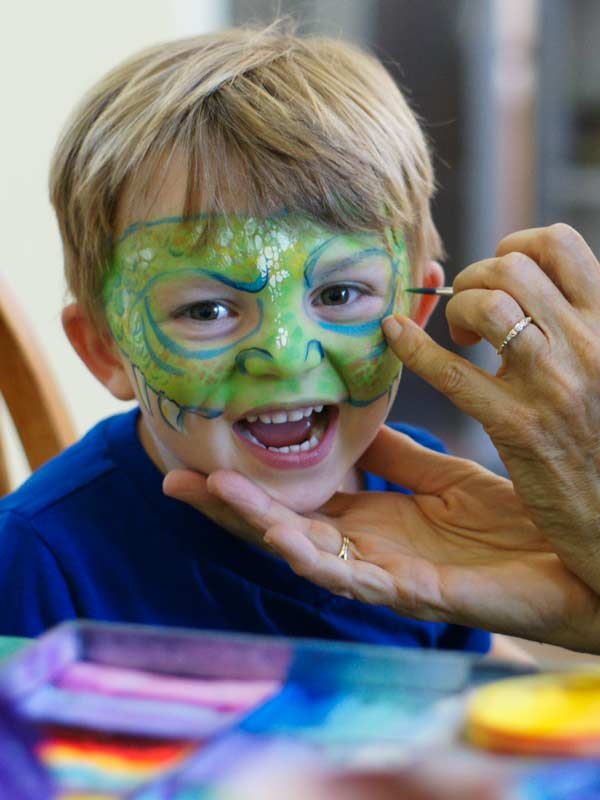Dragon Boy face and body paint by Auntie Stacey Dennick, San Francisco Bay area face painter