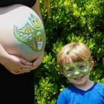 Dragon Belly and Dragon Big Brother face and body paint by Auntie Stacey Dennick, San Francisco Bay area face painter