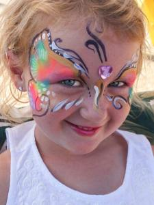 Rainbow Butterfly with gem by Auntie Stacey's Face Painting, sdennick@comcast.net, Sonoma, Marin county, SF Bay area