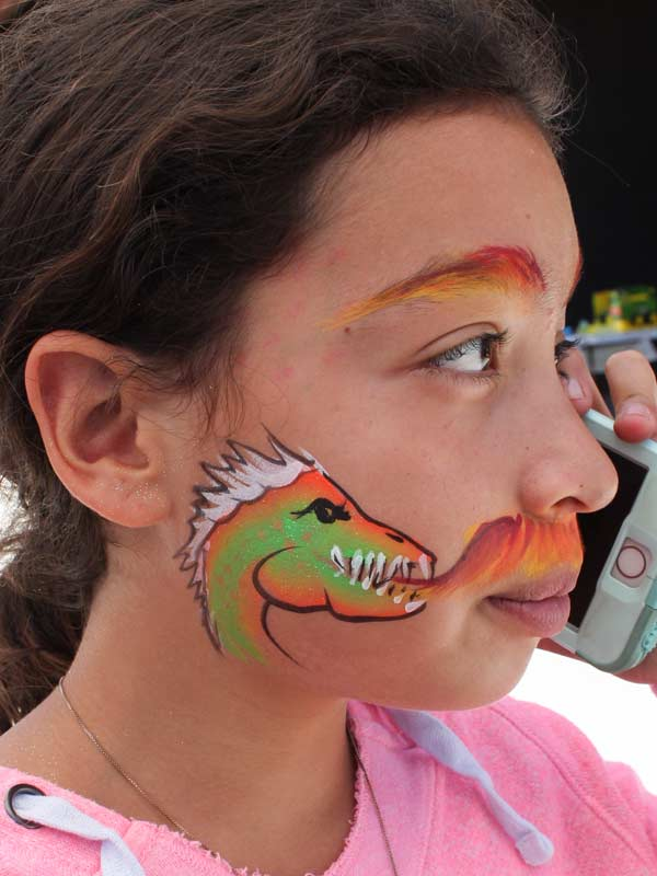 Dragon with Fire Mustache by Auntie Stacey's Face Painting, Northern California, SF Bay Area face and body painter 415-246-1227
