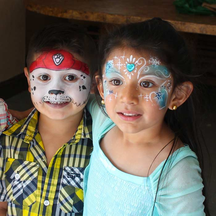 Paw Patrol with Frozen Princess, www.auntiestaceysfacepainting.com SF Bay area face painter Auntie Stacey Dennick