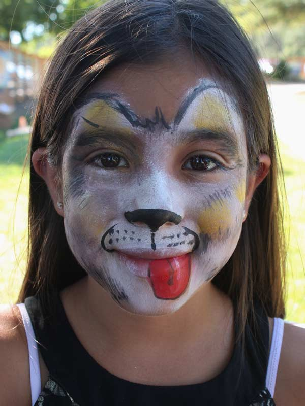 Dog face paint by www.auntiestaceysfacepainting.com SF Bay area face painter Auntie Stacey Dennick Sebastopol Santa Rosa Novato Larkspur Mill Valley Healdsburg