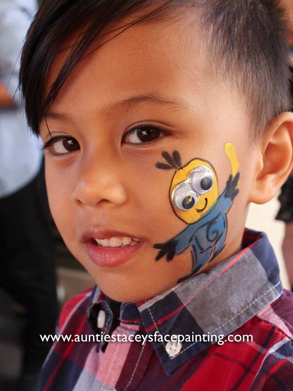 Minion by www.auntiestaceysfacepainting.com SF Bay area face painter Auntie Stacey Dennick Best face painter Sonoma county