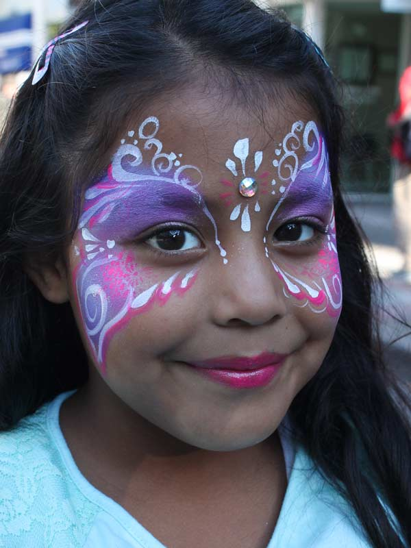 Pink and Purple mask with bling www.auntiestaceysfacepainting.com SF Bay area face painter Auntie Stacey Dennick princess parties