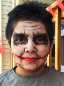 The Joker Halloween makeup www.auntiestaceysfacepainting.com SF Bay area face painter Auntie Stacey Dennick Marin Sonoma Napa county