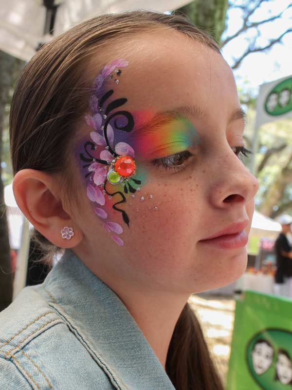 Rainbow eye bling with gems by Auntie Stacey's Face Painting www.auntiestaceysfacepainting.com SF Bay area face painter Auntie Stacey Dennick Sebastopol Santa Rosa Best wine country face painter!