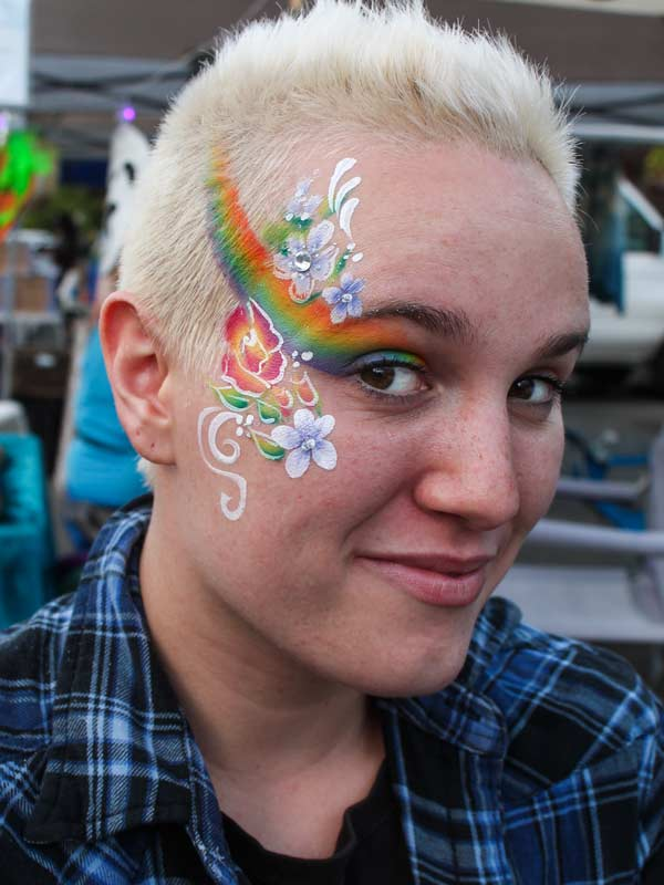 Rainbow face paint by Auntie Stacey's Face Painting, Sonoma county, Santa Rosa, Sebastopol, Petaluma, wine country face painter, SF bay area face painter