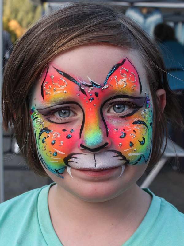 Cheetah Rainbow face paint by Auntie Stacey's Face Painting, Sonoma county, Santa Rosa, Sebastopol, Petaluma, wine country face painter, SF bay area face painter