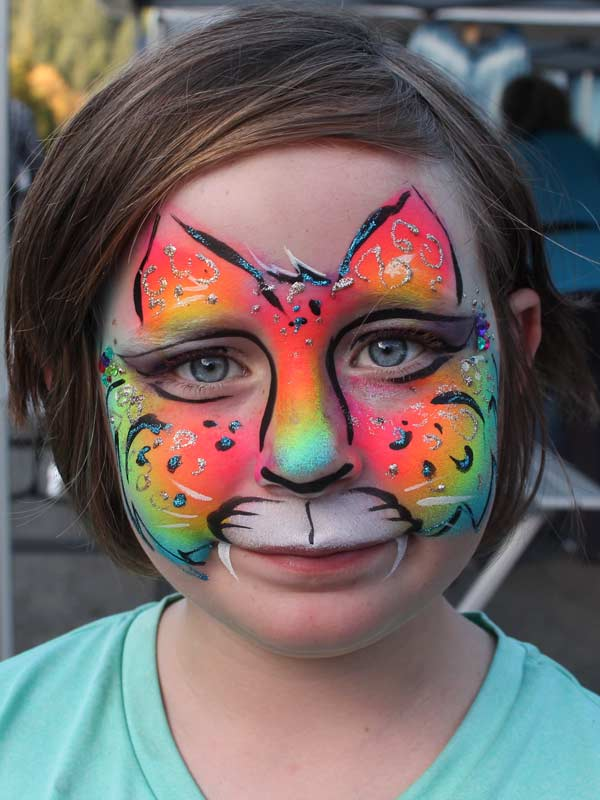Cheetah Rainbow face paint by Auntie Stacey's Face Painting, Sonoma county, Santa Rosa, Sebastopol, Petaluma, wine country face painter, SF bay area face painter