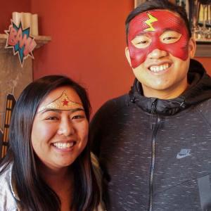 Wonder Woman & The Flash face paint by Auntie Stacey's Face Painting, Sonoma county, Santa Rosa, Sebastopol, Petaluma, wine country face painter, SF bay area face painter, Wine Country face painter