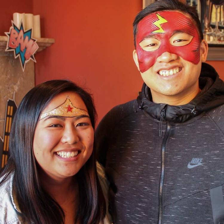 Wonder Woman & The Flash face paint by Auntie Stacey's Face Painting, Sonoma county, Santa Rosa, Sebastopol, Petaluma, wine country face painter, SF bay area face painter, Wine Country face painter