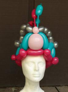 Pink and blue balloon crown by Auntie Stacey's Face Painting, balloon twisting, children's entertainment, party, kids, clown, fun, wine country face painter (415) 246-1227