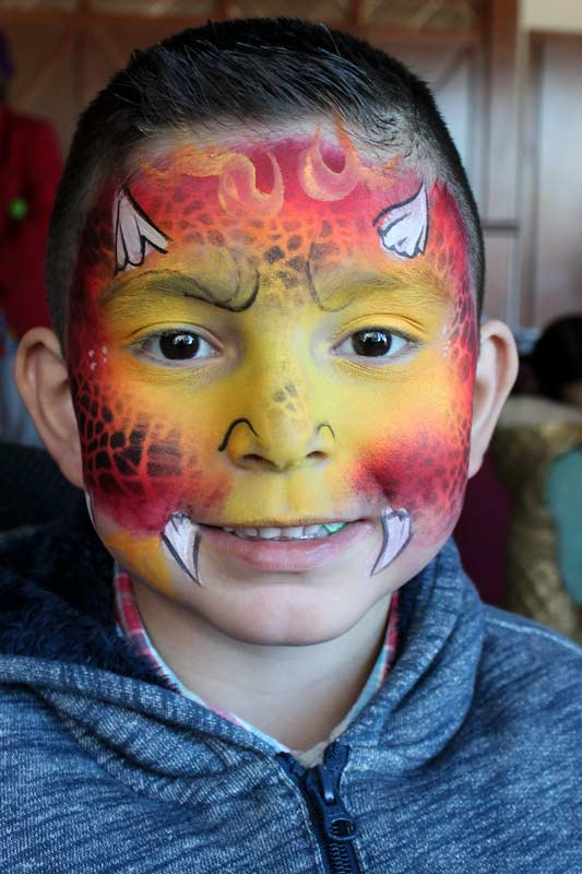 Fire Dragon face paint by Auntie Stacey's Face Painting, balloon twisting, children's entertainment, party, kids, clown, fun, wine country face painter (415) 246-1227