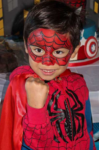 Spiderman by Auntie Stacey's Face Painting balloon twisting children's entertainment sonoma county wine country best face painter (415) 246-1227