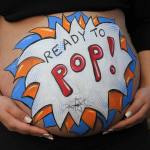 Ready To Pop! belly painting by Auntie Stacey's Face Painting, Santa Rosa, San Rafael, San Francisco bay area face and body painter, pregnant art baby shower