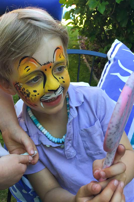 Cheetah Auntie Stacey's Face Painting, balloon twisting, children's entertainment, party, kids, clown, fun, wine country face painter