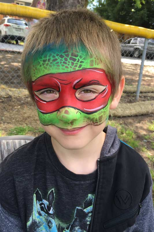 Ninja Turtle Auntie Stacey's Face Painting, balloon twisting, children's entertainment, party, kids, clown, fun, wine country face painter