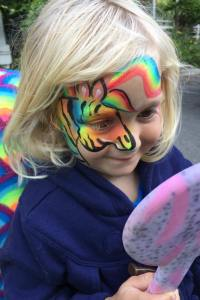 Rainbow zebra Auntie Stacey's Face Painting, balloon twisting, children's entertainment, party, kids, clown, fun, wine country face painter