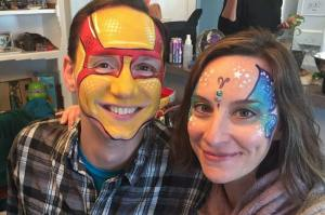 Iron Man, Butterfly Bling by Auntie Stacey's Face painting balloon twisting San Francisco bay area, Marin, Sonoma, Santa Rosa, San Rafael, children's entertainment
