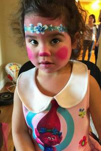 Poppy face paint Auntie Stacey's Face Painting, balloon twisting, children's entertainment, party, kids, clown, fun, San Francisco Bay Area face painter
