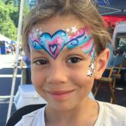 4th of July princess heart face paint by Auntie Stacey's Face Painting, Aunty Stacey, Aunt Stacy, Sonoma county, Santa Rosa, Petaluma, Sebastopol, Windsor, Kenwood, Wine Country, SF Bay area, balloons