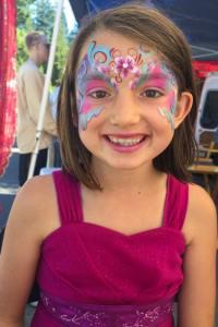 Pretty floral mask face paint by Aunty Stacey, Aunt Stacy, Auntie Stacey's Face Painting, Sonoma county, Santa Rosa, Petaluma, Sebastopol, Windsor, Kenwood, Wine Country, SF Bay area, balloons