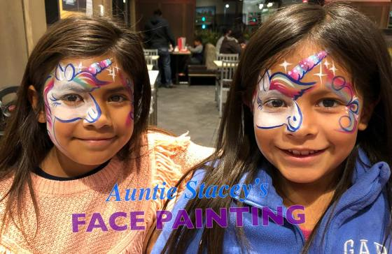 Unicorn face paint Auntie Stacey's Face Painting, Aunty Stacey, Aunt Stacy, Sonoma county, Santa Rosa, Petaluma, Sebastopol, Windsor, Kenwood, Wine Country, SF Bay area, balloons