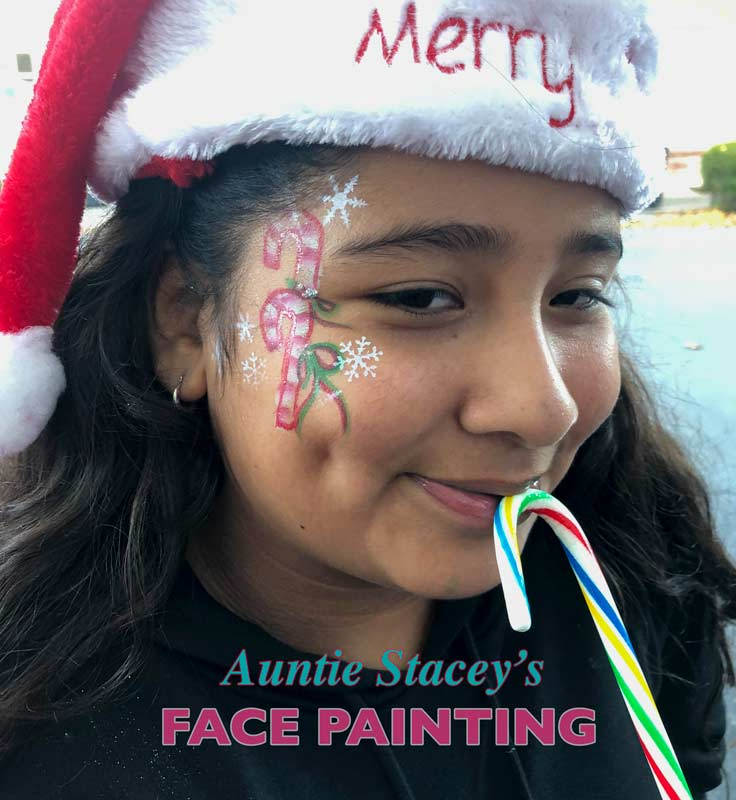 Christmas face paint by Auntie Stacey's Face Painting, Aunty Stacey, Aunt Stacy, Sonoma county, Santa Rosa, Petaluma, Sebastopol, Windsor, Calistoga, Cloverdale, Wine Country, SF Bay area, balloons