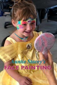Rainbow Princess face paint Auntie Stacey's Face Painting, Aunty Stacey, Princess face paint by Aunt Stacy, Sonoma county, Santa Rosa, Petaluma, Sebastopol, Cloverdale, Novato, Sebastopol, Guerneville, Wine Country, SF Bay area, balloons
