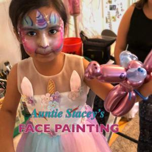 Unicorn face paint Auntie Stacey's Face Painting, Aunty Stacey, Aunt Stacy, Sonoma county, Santa Rosa, Petaluma, Sebastopol, Windsor, Cloverdale, Wine Country, SF Bay area, balloons