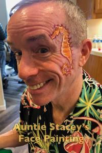 seahorse face paint Auntie Stacey's Face Painting, Aunty Stacey, Princess face paint by Aunt Stacy, Sonoma county, Santa Rosa, Petaluma, Sebastopol, Cloverdale, Novato, Sebastopol, Guerneville, Wine Country, SF Bay area, balloons